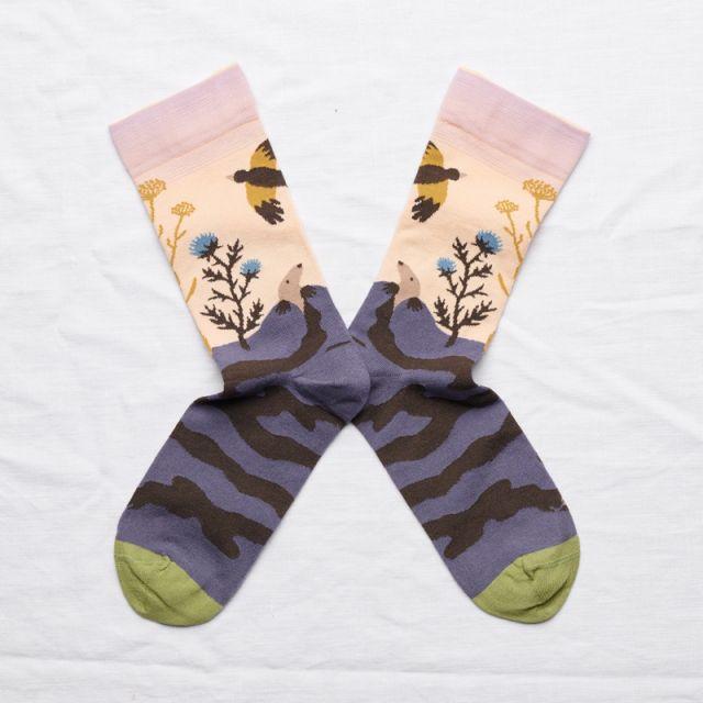 Socken Taupe Rose Bouton